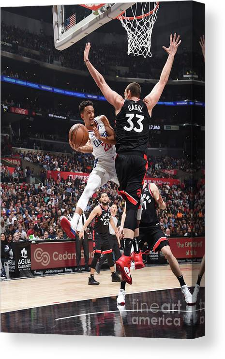 Nba Pro Basketball Canvas Print featuring the photograph Toronto Raptors V Los Angeles Clippers by Adam Pantozzi