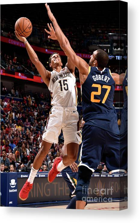 Smoothie King Center Canvas Print featuring the photograph Utah Jazz V New Orleans Pelicans by Bill Baptist