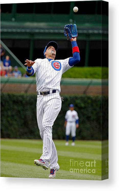 People Canvas Print featuring the photograph Washington Nationals V Chicago Cubs by Jon Durr