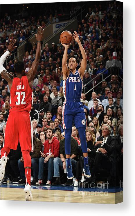 Nba Pro Basketball Canvas Print featuring the photograph Washington Wizards V Philadelphia 76ers by David Dow