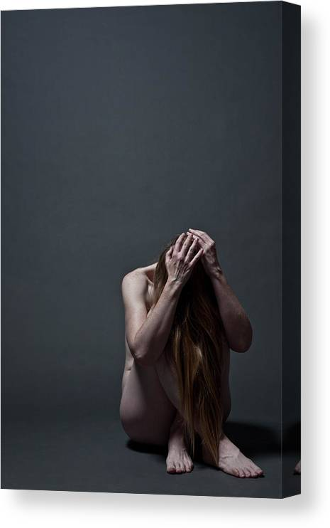 People Canvas Print featuring the photograph Woman Crouched On Floor by Claudia Burlotti