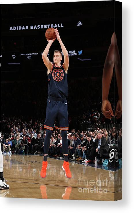 Nba Pro Basketball Canvas Print featuring the photograph Brooklyn Nets V New York Knicks by Nathaniel S. Butler