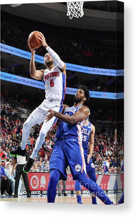 Nba Pro Basketball Canvas Print featuring the photograph Detroit Pistons V Philadelphia 76ers by Jesse D. Garrabrant