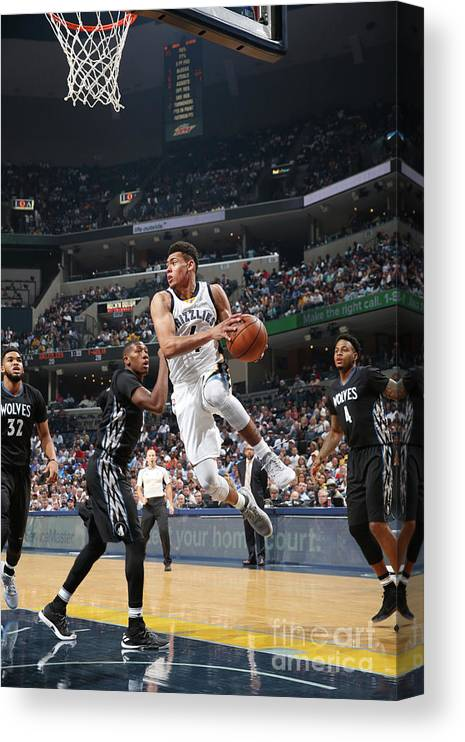 Nba Pro Basketball Canvas Print featuring the photograph Minnesota Timberwolves V Memphis by Joe Murphy
