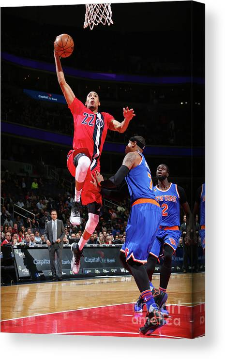 Nba Pro Basketball Canvas Print featuring the photograph New York Knicks V Washington Wizards by Ned Dishman