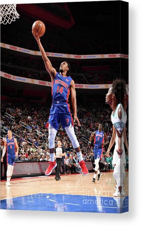 Nba Pro Basketball Canvas Print featuring the photograph Charlotte Hornets V Detroit Pistons by Chris Schwegler