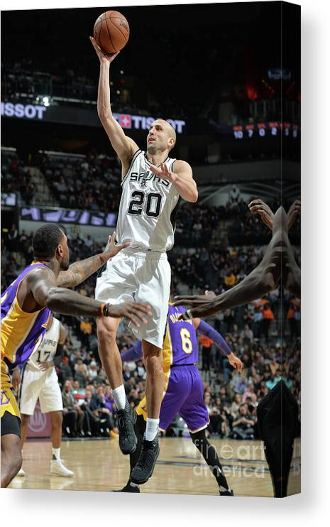 Nba Pro Basketball Canvas Print featuring the photograph Los Angeles Lakers V San Antonio Spurs by Mark Sobhani