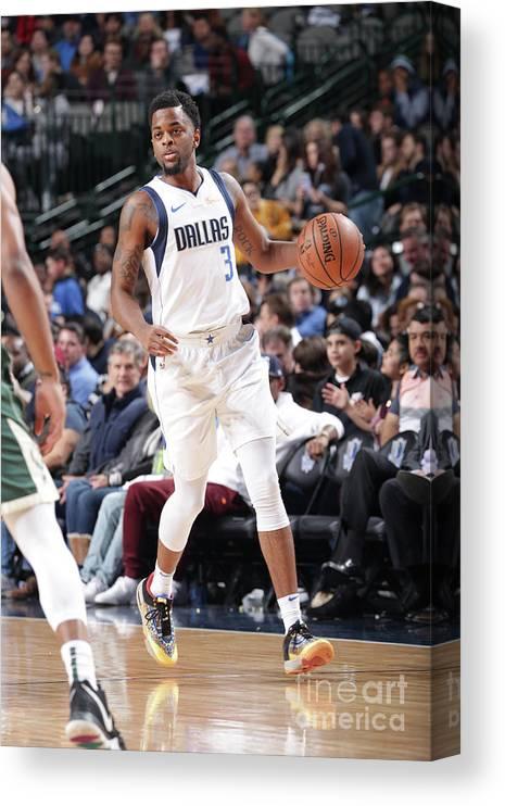 Nba Pro Basketball Canvas Print featuring the photograph Milwaukee Bucks V Dallas Mavericks by Glenn James