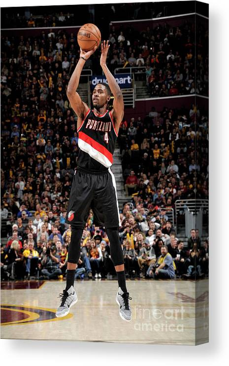 Moe Harkless Canvas Print featuring the photograph Portland Trail Blazers V Cleveland by David Liam Kyle