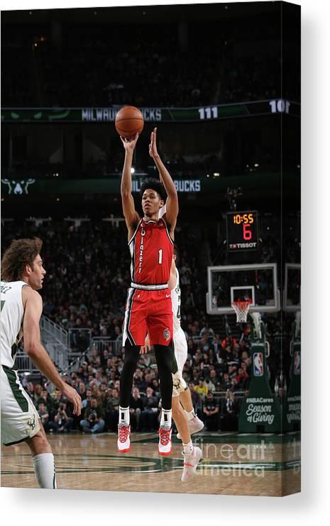 Nba Pro Basketball Canvas Print featuring the photograph Portland Trail Blazers V Milwaukee Bucks by Gary Dineen