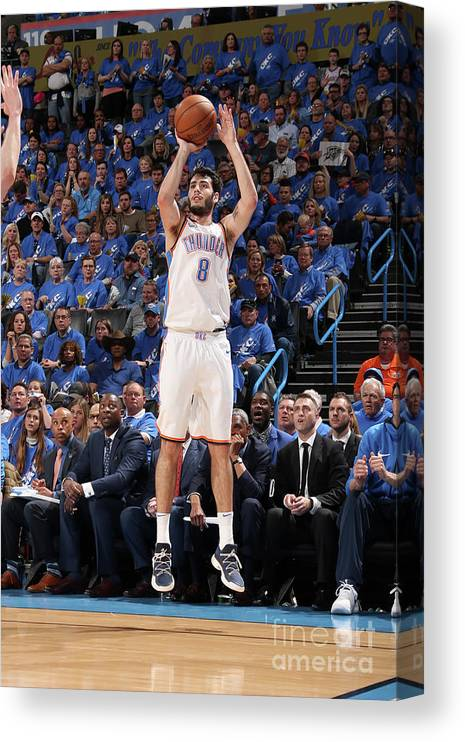 Playoffs Canvas Print featuring the photograph Utah Jazz V Oklahoma City Thunder - by Layne Murdoch