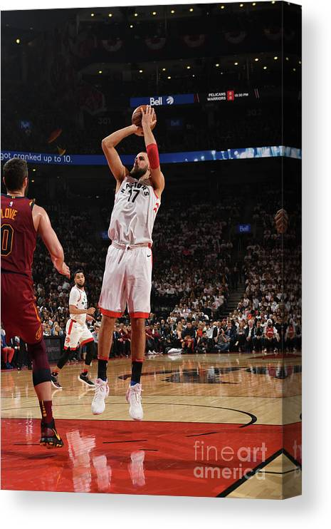 Playoffs Canvas Print featuring the photograph Cleveland Cavaliers V Toronto Raptors - by Ron Turenne
