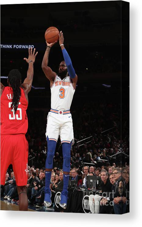 Tim Hardaway Jr. Canvas Print featuring the photograph Houston Rockets V New York Knicks by Nathaniel S. Butler
