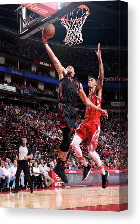 Nba Pro Basketball Canvas Print featuring the photograph Portland Trail Blazers V Houston Rockets by Bill Baptist