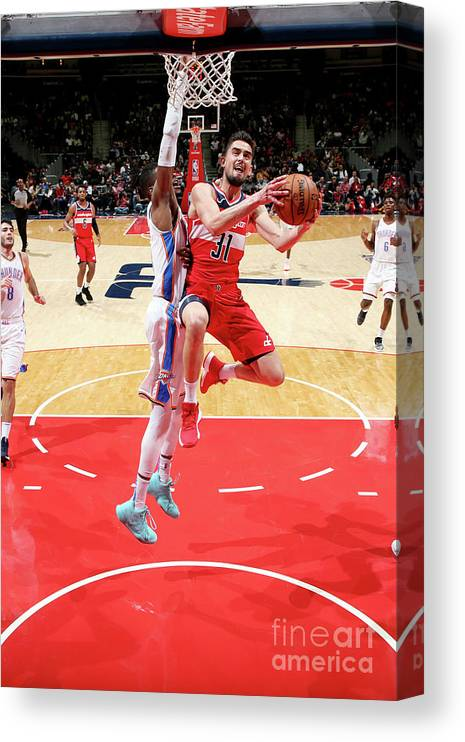 Nba Pro Basketball Canvas Print featuring the photograph Oklahoma City Thunder V Washington by Ned Dishman