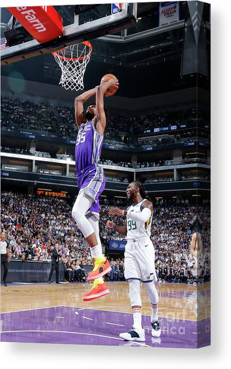 Nba Pro Basketball Canvas Print featuring the photograph Utah Jazz V Sacramento Kings by Rocky Widner