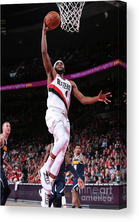 Moe Harkless Canvas Print featuring the photograph Denver Nuggets V Portland Trail Blazers by Sam Forencich