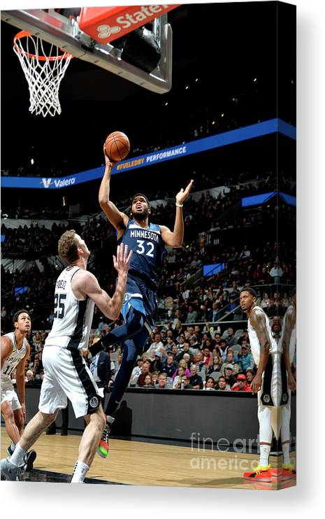 Nba Pro Basketball Canvas Print featuring the photograph Minnesota Timberwolves V San Antonio by Mark Sobhani