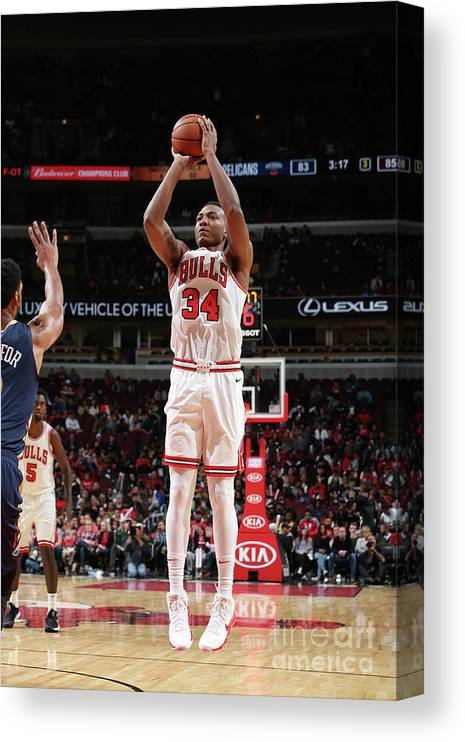 Nba Pro Basketball Canvas Print featuring the photograph New Orleans Pelicans V Chicago Bulls by Gary Dineen