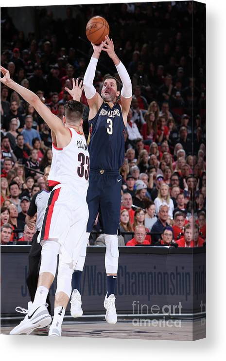 Playoffs Canvas Print featuring the photograph New Orleans Pelicans V Portland Trail by Sam Forencich