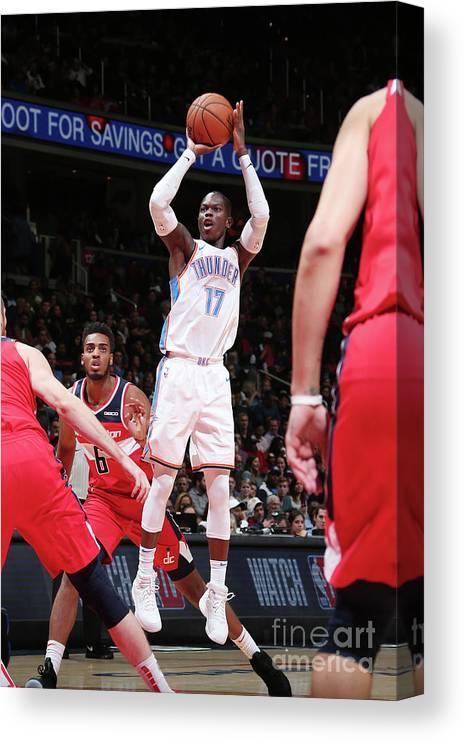 Nba Pro Basketball Canvas Print featuring the photograph Oklahoma City Thunder V Washington by Ned Dishman