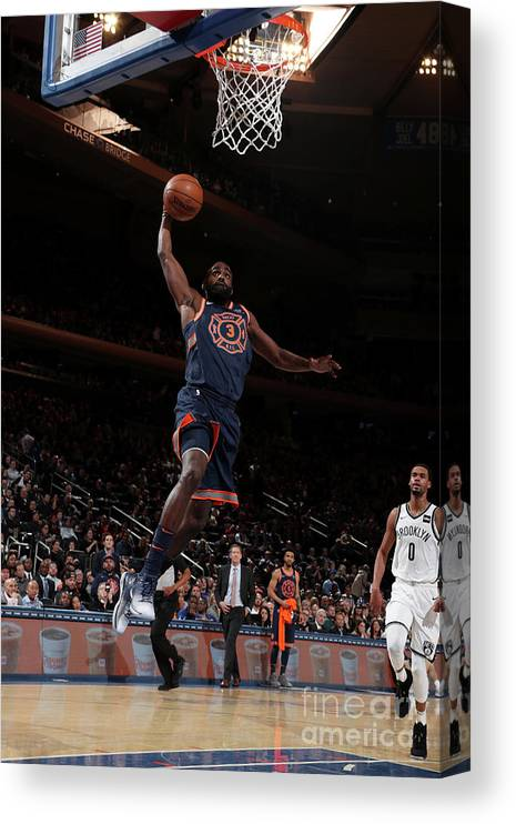 Tim Hardaway Jr. Canvas Print featuring the photograph Brooklyn Nets V New York Knicks by Nathaniel S. Butler
