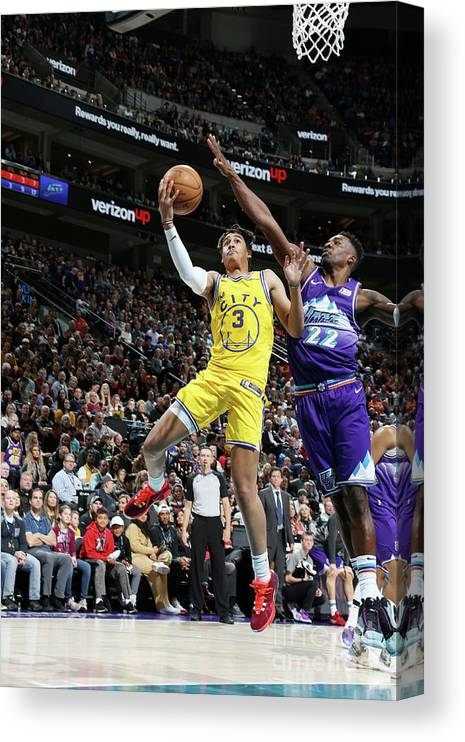 Nba Pro Basketball Canvas Print featuring the photograph Golden State Warriors V Utah Jazz by Melissa Majchrzak