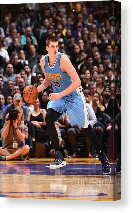 Nba Pro Basketball Canvas Print featuring the photograph Denver Nuggets V Los Angeles Lakers by Andrew D. Bernstein