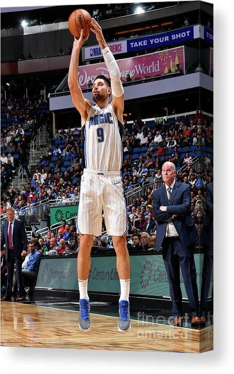 Nba Pro Basketball Canvas Print featuring the photograph Philadelphia 76ers V Orlando Magic by Fernando Medina