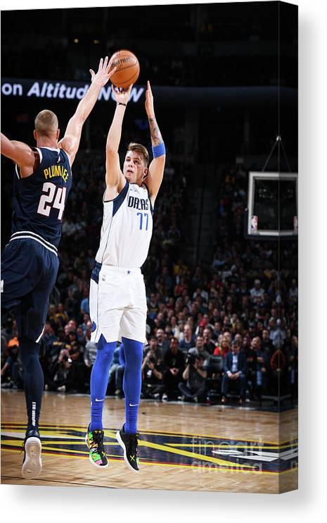 Nba Pro Basketball Canvas Print featuring the photograph Dallas Mavericks V Denver Nuggets by Garrett Ellwood