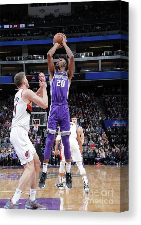 Nba Pro Basketball Canvas Print featuring the photograph Portland Trail Blazers V Sacramento by Rocky Widner