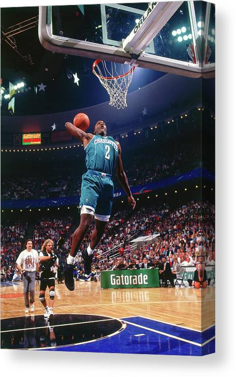 Nba Pro Basketball Canvas Print featuring the photograph 1992 Slam Dunk Contest Larry Johnson by Andrew D. Bernstein