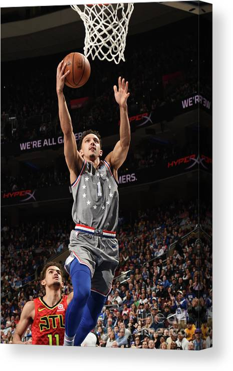 Nba Pro Basketball Canvas Print featuring the photograph Atlanta Hawks V Philadelphia 76ers by David Dow