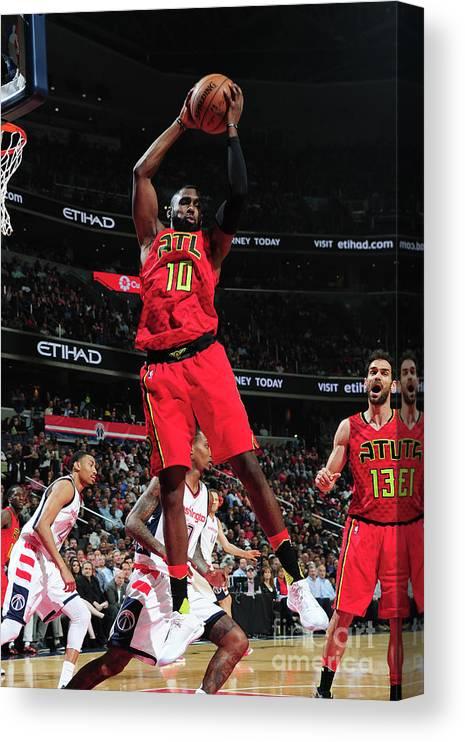 Tim Hardaway Jr. Canvas Print featuring the photograph Atlanta Hawks V Washington Wizards - by Scott Cunningham