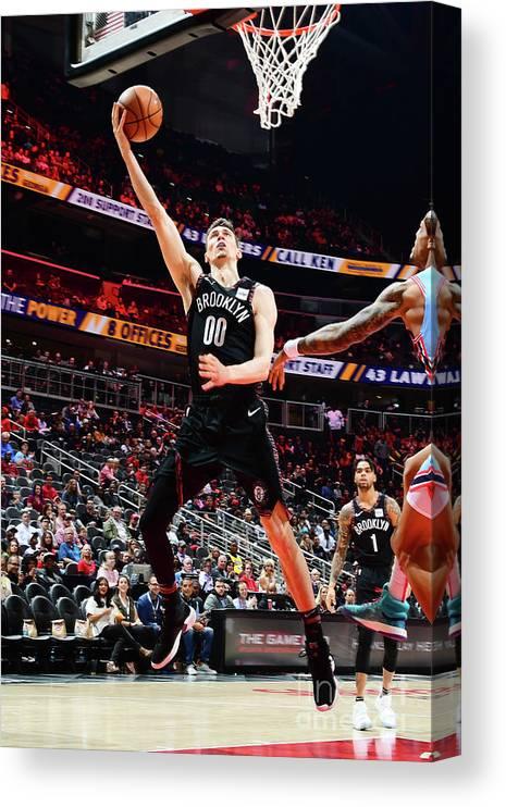 Atlanta Canvas Print featuring the photograph Brooklyn Nets V Atlanta Hawks by Scott Cunningham