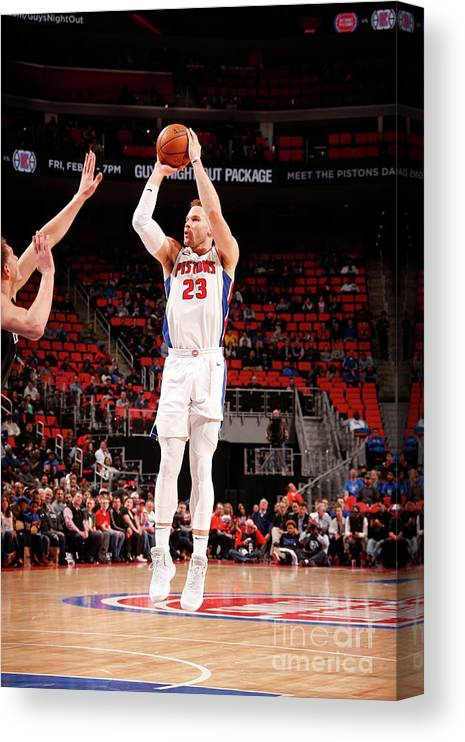 Nba Pro Basketball Canvas Print featuring the photograph Brooklyn Nets V Detroit Pistons by Brian Sevald