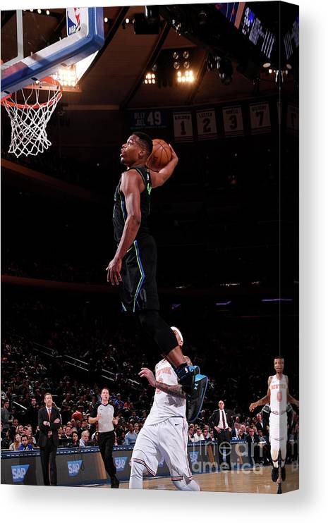 Sports Ball Canvas Print featuring the photograph Dallas Mavericks V New York Knicks by Nba Photos