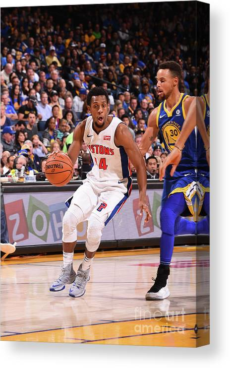 Nba Pro Basketball Canvas Print featuring the photograph Detroit Pistons V Golden State Warriors by Noah Graham