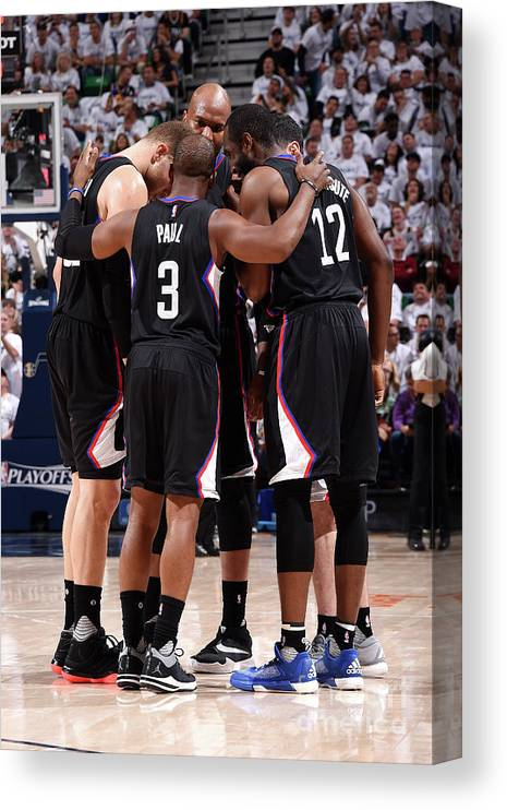 Playoffs Canvas Print featuring the photograph Los Angeles Clippers V Utah Jazz - Game by Andrew D. Bernstein