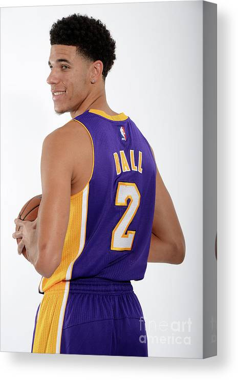 Following Canvas Print featuring the photograph Los Angeles Lakers Introduce Lonzo Ball by Andrew D. Bernstein