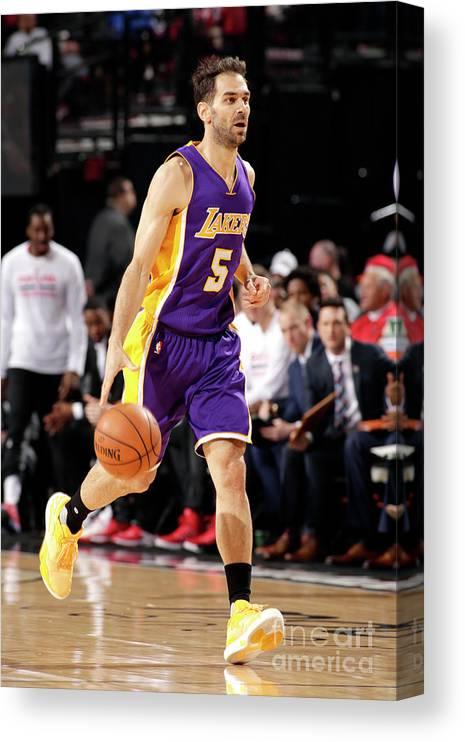 Nba Pro Basketball Canvas Print featuring the photograph Los Angeles Lakers V Portland Trail by Cameron Browne