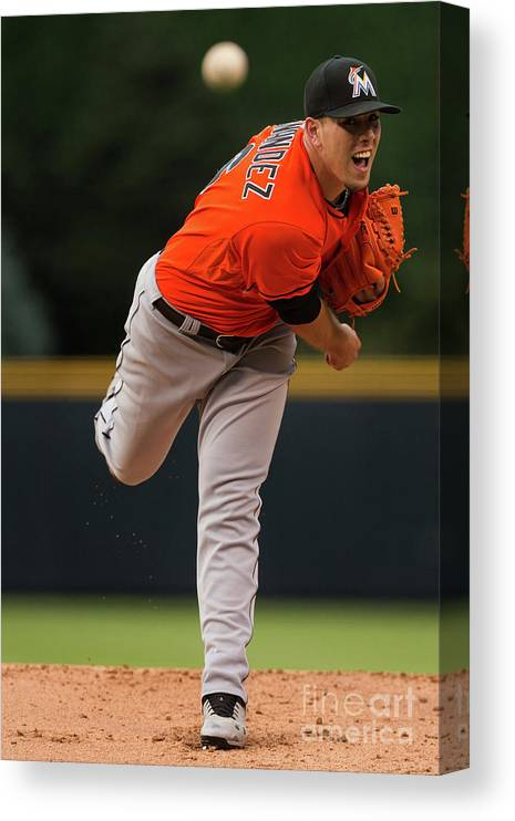 People Canvas Print featuring the photograph Miami Marlins V Colorado Rockies by Justin Edmonds