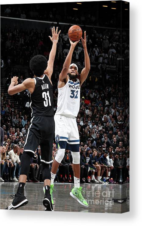 Nba Pro Basketball Canvas Print featuring the photograph Minnesota Timberwolves V Brooklyn Nets by Nathaniel S. Butler