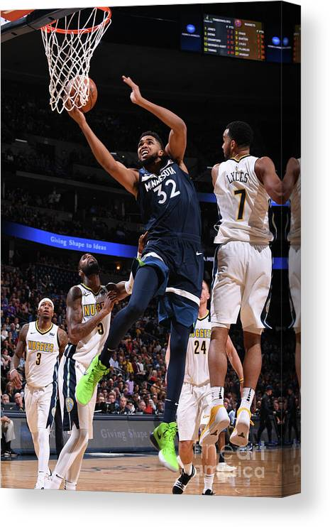 Nba Pro Basketball Canvas Print featuring the photograph Minnesota Timberwolves V Denver Nuggets by Bart Young