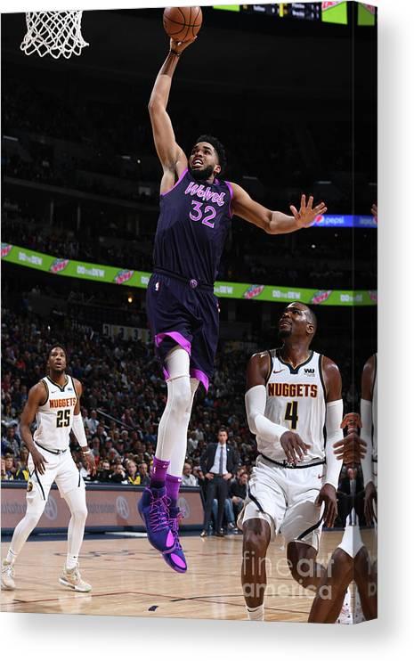 Nba Pro Basketball Canvas Print featuring the photograph Minnesota Timberwolves V Denver Nuggets by Garrett Ellwood