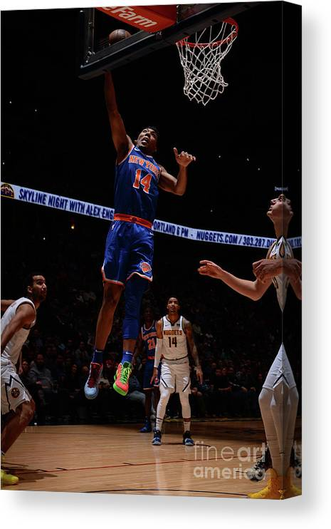 Nba Pro Basketball Canvas Print featuring the photograph New York Knicks V Denver Nuggets by Bart Young