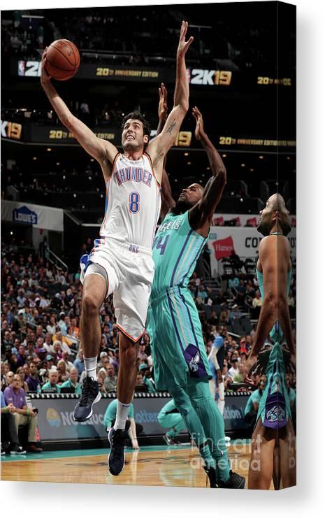 Nba Pro Basketball Canvas Print featuring the photograph Oklahoma City Thunder V Charlotte by Kent Smith