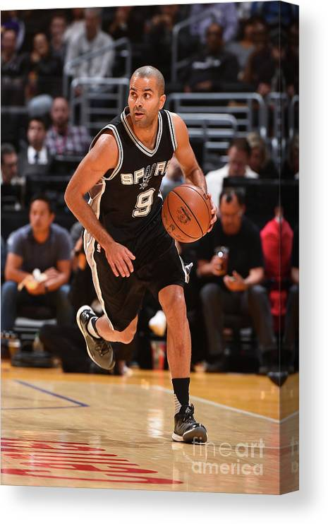 Sport Canvas Print featuring the photograph San Antonio Spurs V Los Angeles Lakers by Andrew D. Bernstein