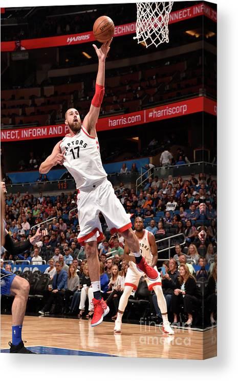 Nba Pro Basketball Canvas Print featuring the photograph Toronto Raptors V Orlando Magic by Gary Bassing