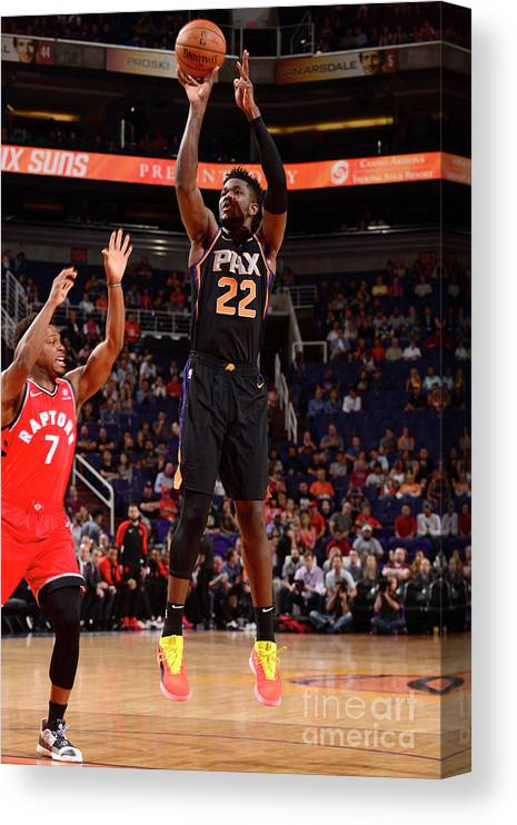 Nba Pro Basketball Canvas Print featuring the photograph Toronto Raptors V Phoenix Suns by Barry Gossage
